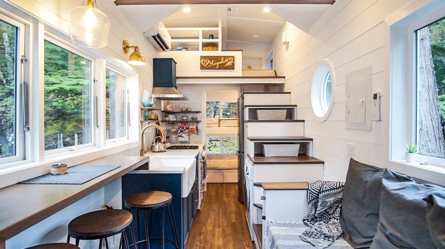 Woman's Modern Tiny House is Super Spacious, Functional, And Can Sleep 9!
