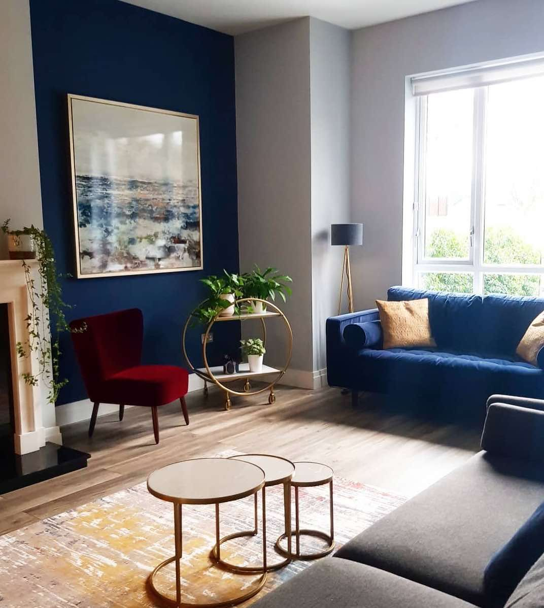 8 Hour Consult  Feature wall living room, Brass living room, Blue