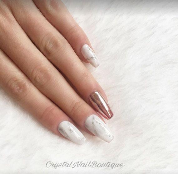 Marble press on nails • rose gold chrome nails • false nails • fake ...