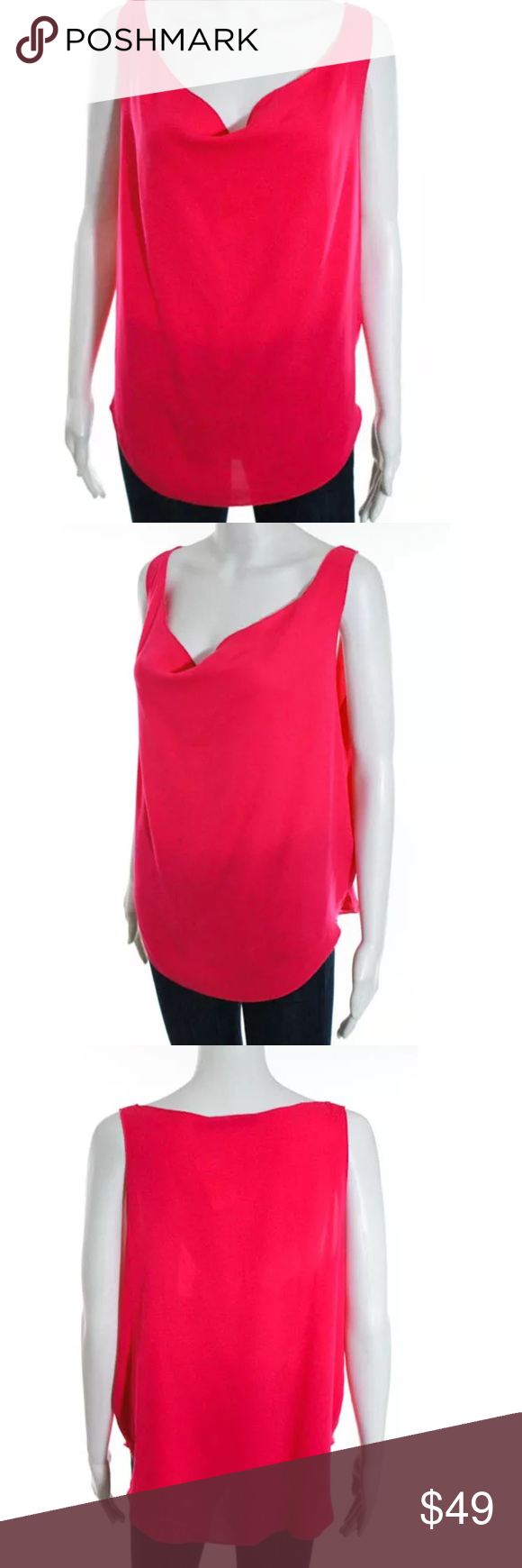 Alice + Olivia pink silk top Sz small Silk draped front top in magenta pink Alice + Olivia Tops Blouses