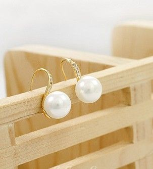 Wholesale Charming & Fashionable Diamond Pearl Ear Studs----Gold  top dresses