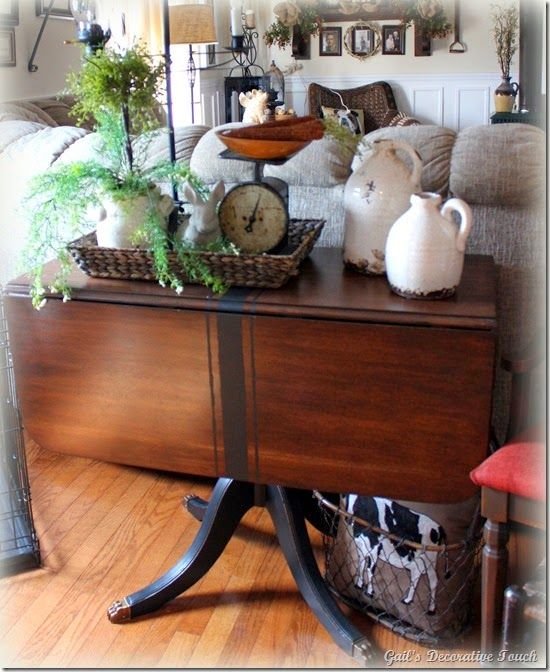 We Could Refinish Our Drop Leaf Table In A Darker Stain And Use It As A  Sofa Table In The Family Room