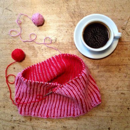Red and pink cowl knitting project shared on the LoveKnitting c  Community.