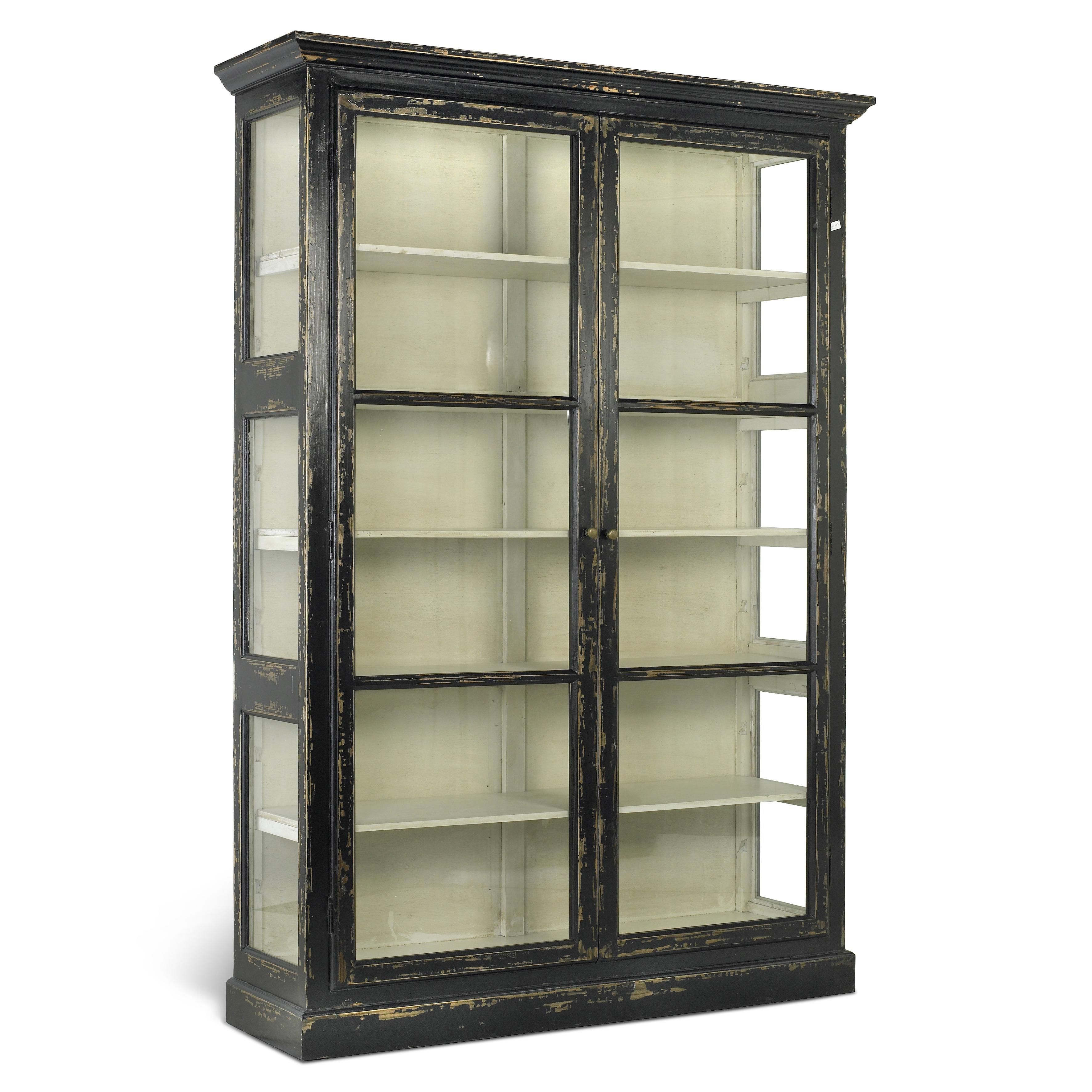 Glasvitrine Discount Large Rustic Glass Cabinet Furnishings Accessories Black