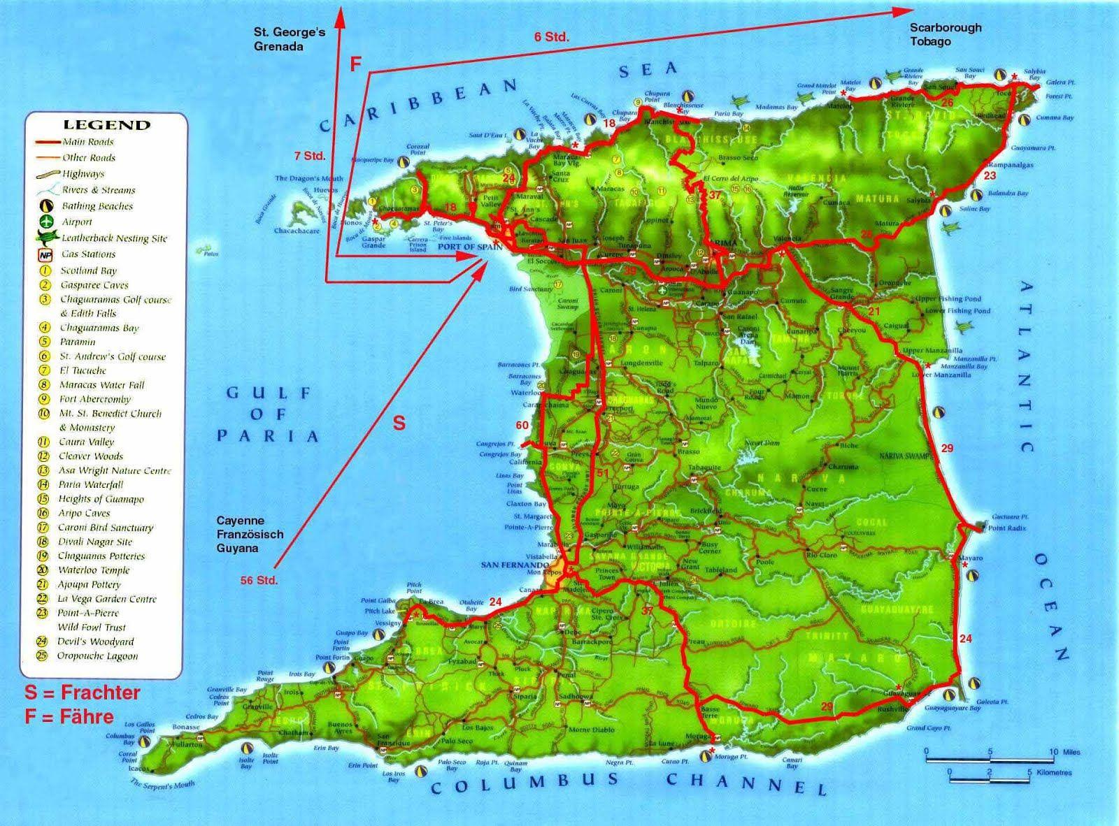 Mapas Geograficos De Trinidad E Tobago Trinidad Island Trinidad