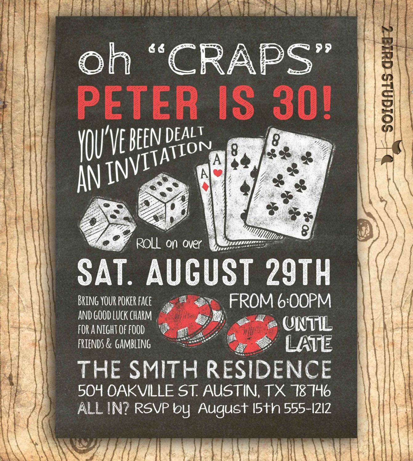 Casino Invitation For Poker Party Birthday