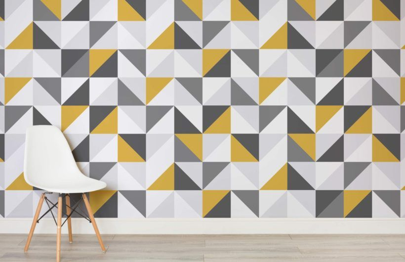 Yellow And Grey Geometric Wallpaper Muralswallpaper Wall Decor