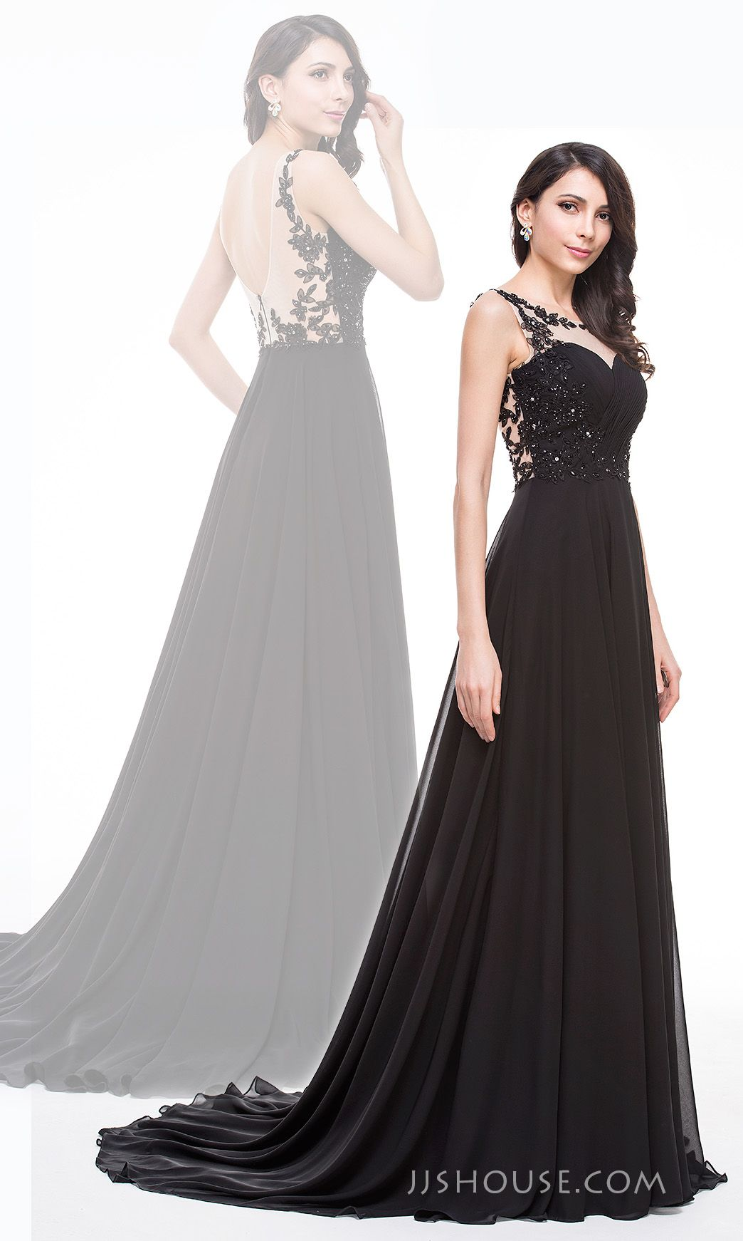 Beading, sequins, appliques lace, and court traon, all details make this prince scoop neck chiffon Prom dress gorgeous. #JJsHouse #Prom