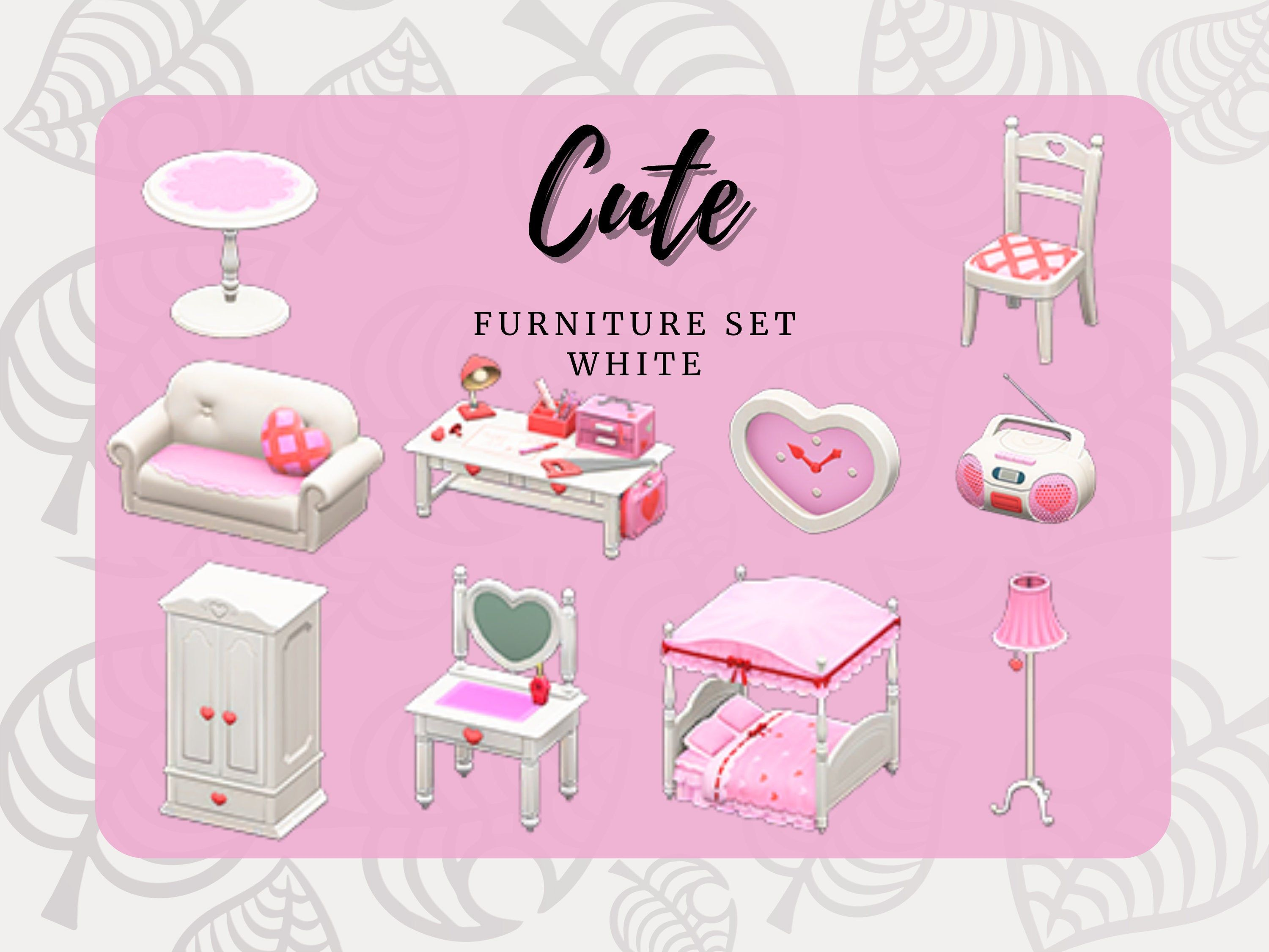 Animal Crossing Acnh Cute Full Furniture Sets All Colors Etsy Animal Crossing Cute Furniture Animal Crossing Game
