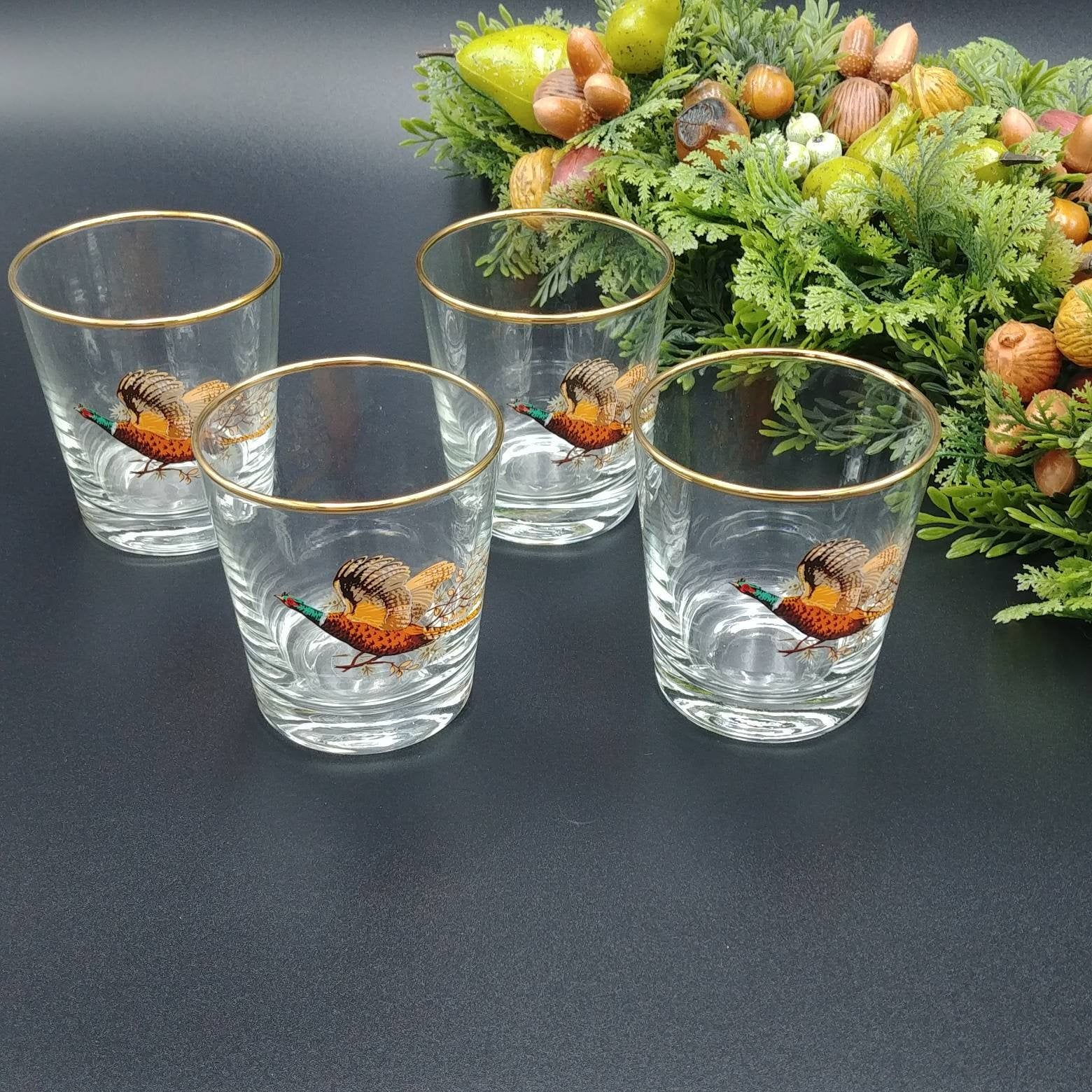 Vintage Cocktail Glasses Set of 4, Mid Century Barware