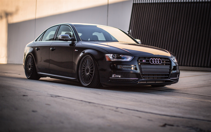 Lataa kuva Audi S4, tuning, B8, viritys, superautot, musta s4, saksan autoja, Audi