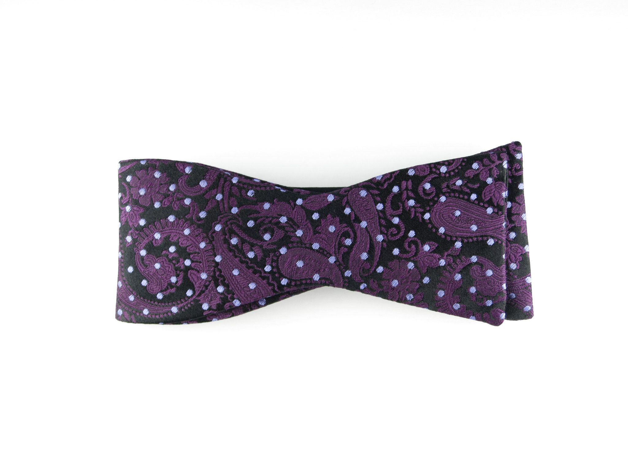 Bow Tie, Pindot Paisley, Purple, Flat End – SuitedMan