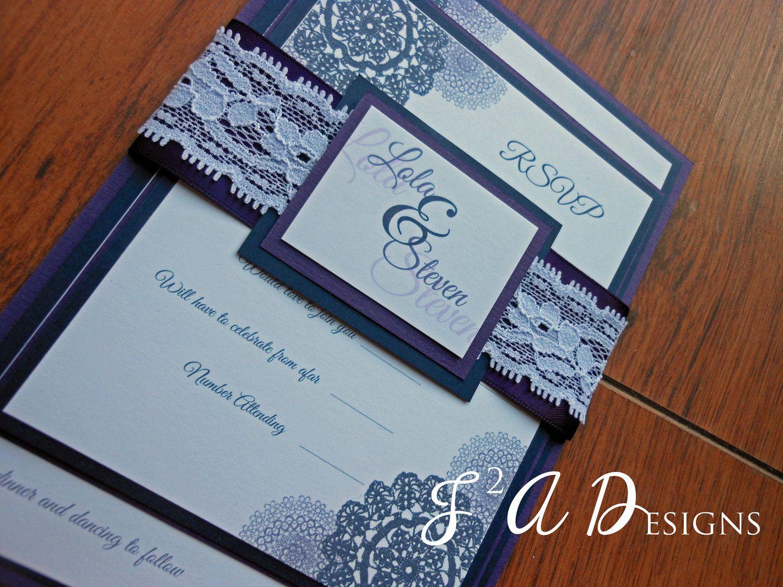 Navy Blue and Purple Lace Wedding by 1stImpressionInvites on Etsy ...