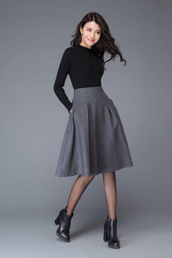 99d736cd75a2ca Gray skirt, wool skirt, winter skirt, womens skirt, midi skirt, gray ...