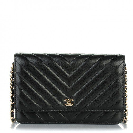 d4db7fdcc4f3 This is an authentic CHANEL Lambskin Chevron Wallet On Chain WOC in Black.  This stylish wallet on a chain is crafted of luxurious chevron quilted  lambskin ...