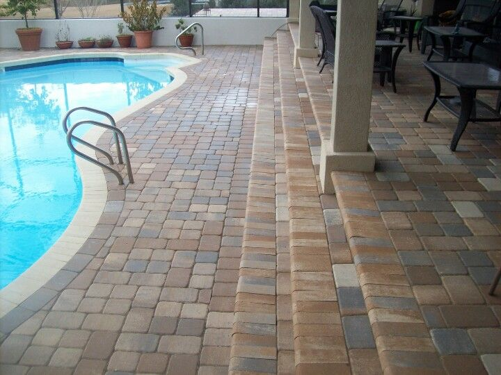 Paver Overlay Steps And Pool Coping With Images Concrete