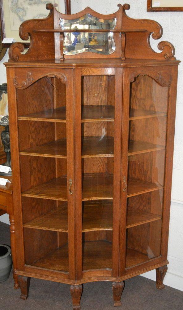 Antique American Oak Corner China Display Cabinet China Cabinet Display Antique Furniture For Sale Antique Furniture