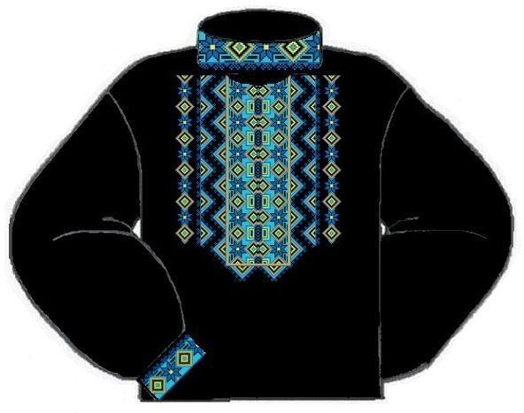 Домотканая чёрная мужская вышиванка ВМД-015Ч