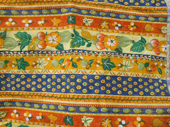 Long Orange Provence Fabric 3.4+ yards Vintage Home Decor Cotton ...