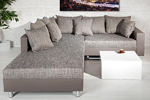 Design Ecksofa Mit Hocker Loft Charcoal Grau Strukturstoff Federkern Ottomane Beidseitig Aufbaubar
