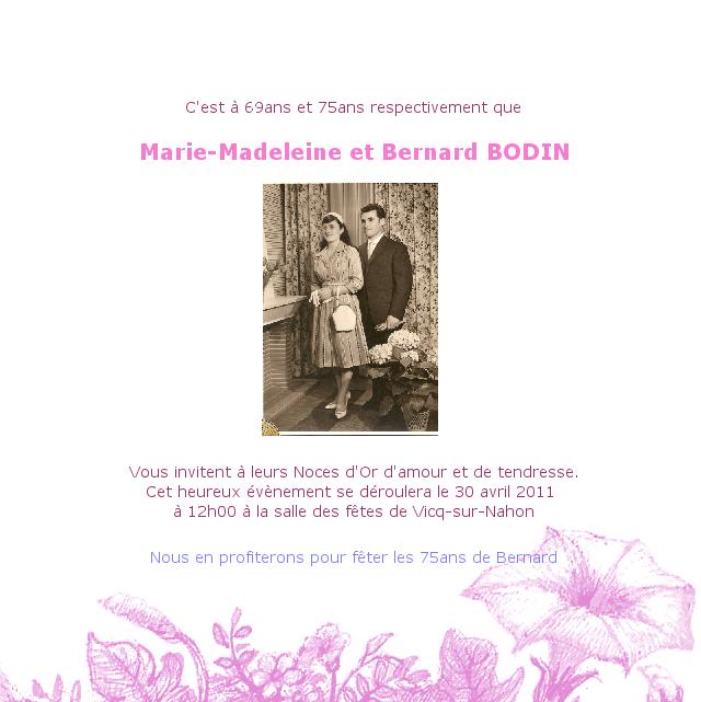 faire part de mariage de marie madeleine bodin et bernard bodin noces d 39 or pinterest marie. Black Bedroom Furniture Sets. Home Design Ideas