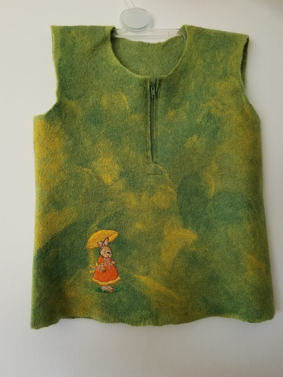 Felted Merino wool Sweater vest Lime Green Embroidered