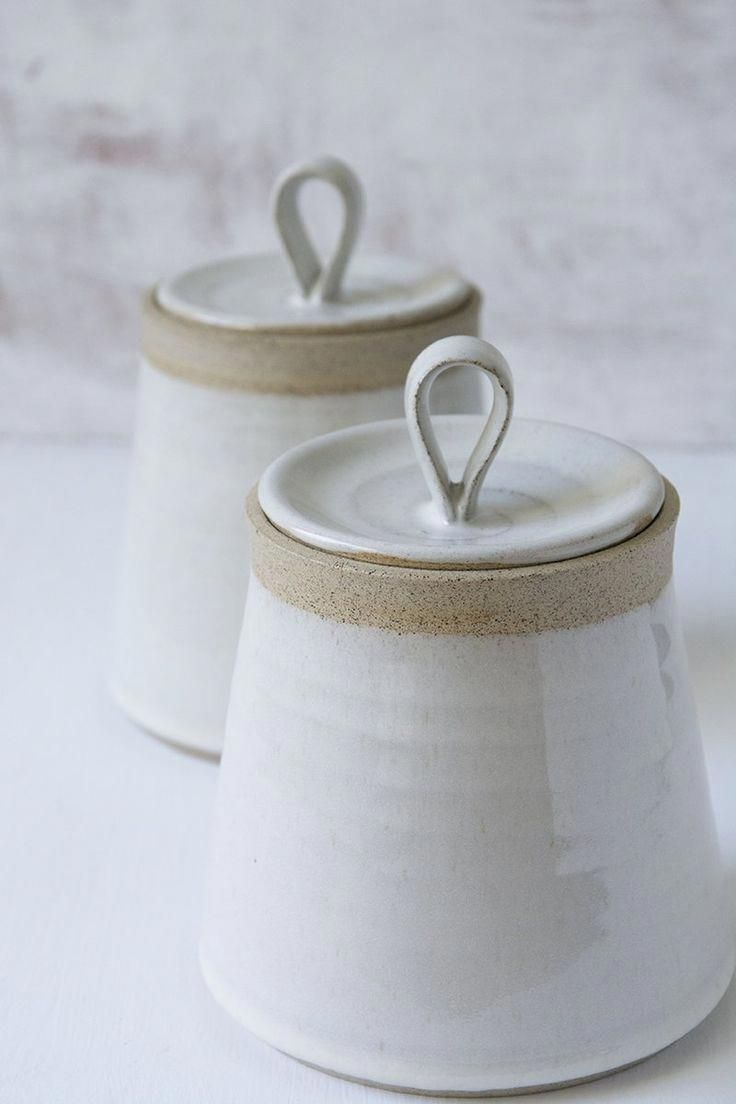 This Beautiful Hand Thrown Pottery White Kitchen Canister Is Made Of A Speckled Clay The Body And Ceramic Kitchen Ceramic Kitchen Canisters Handmade Ceramics