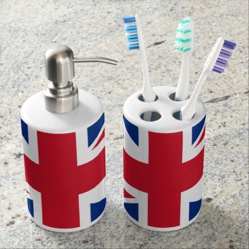Uk Britain Royal Union Jack Flag Soap Dispenser Toothbrush Holder Zazzle Com Union Jack Bath Accessories Set British Decor