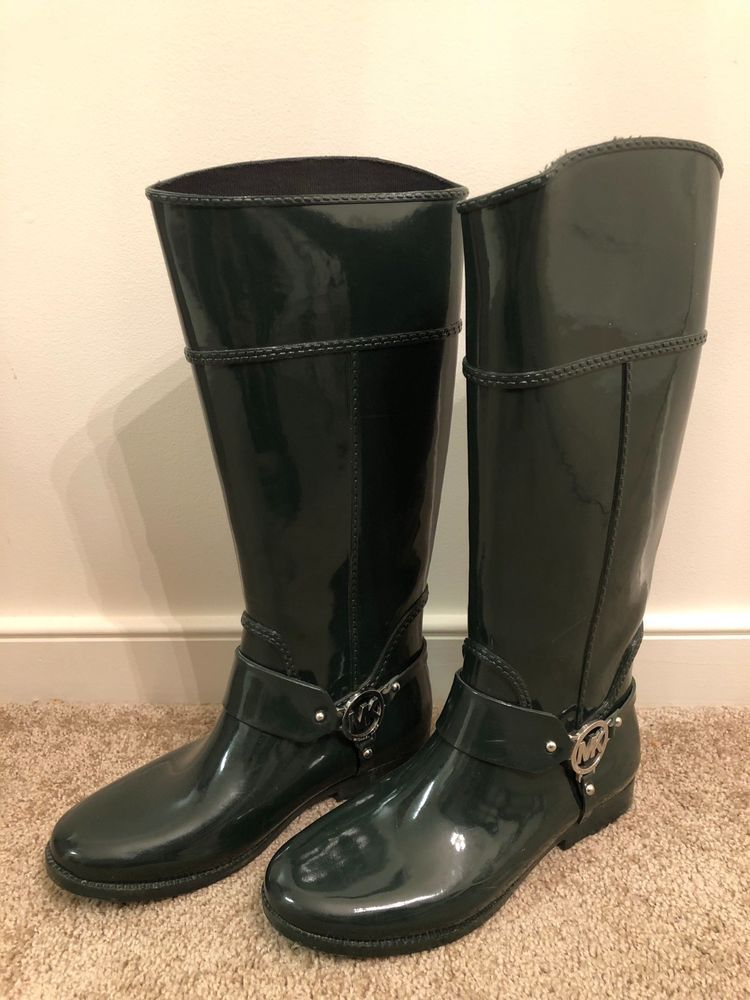 8e0fbb623e38 MICHAEL KORS Fulton Harness Tall Forest Green Rubber Rain Boots Womens Size  9M #fashion #clothing #shoes #accessories #womensshoes #boots (ebay link)