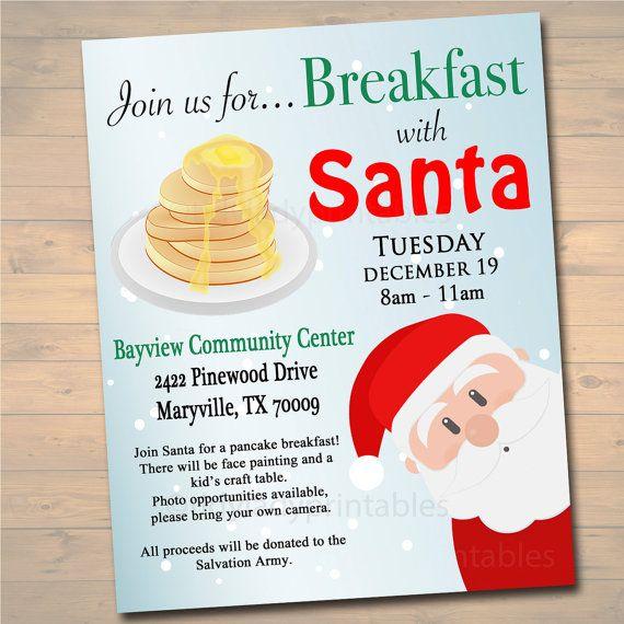editable breakfast with santa flyer tickets breakfast with santa