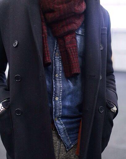 #mensfashion #mensstyle #men #fashion #style #scarf #streetstyle #denim #peacoat #layers