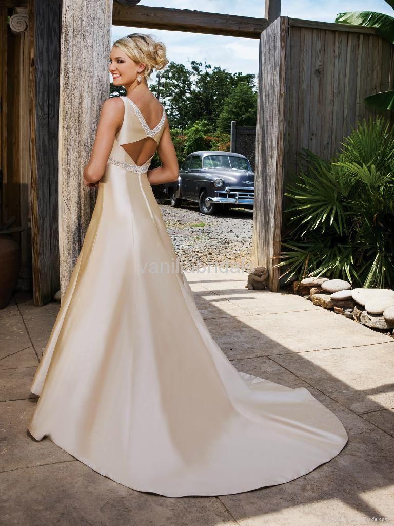 Cly Wedding Dresses Simple But Elegant Spaghetti Strap A Line Dress Mc0063