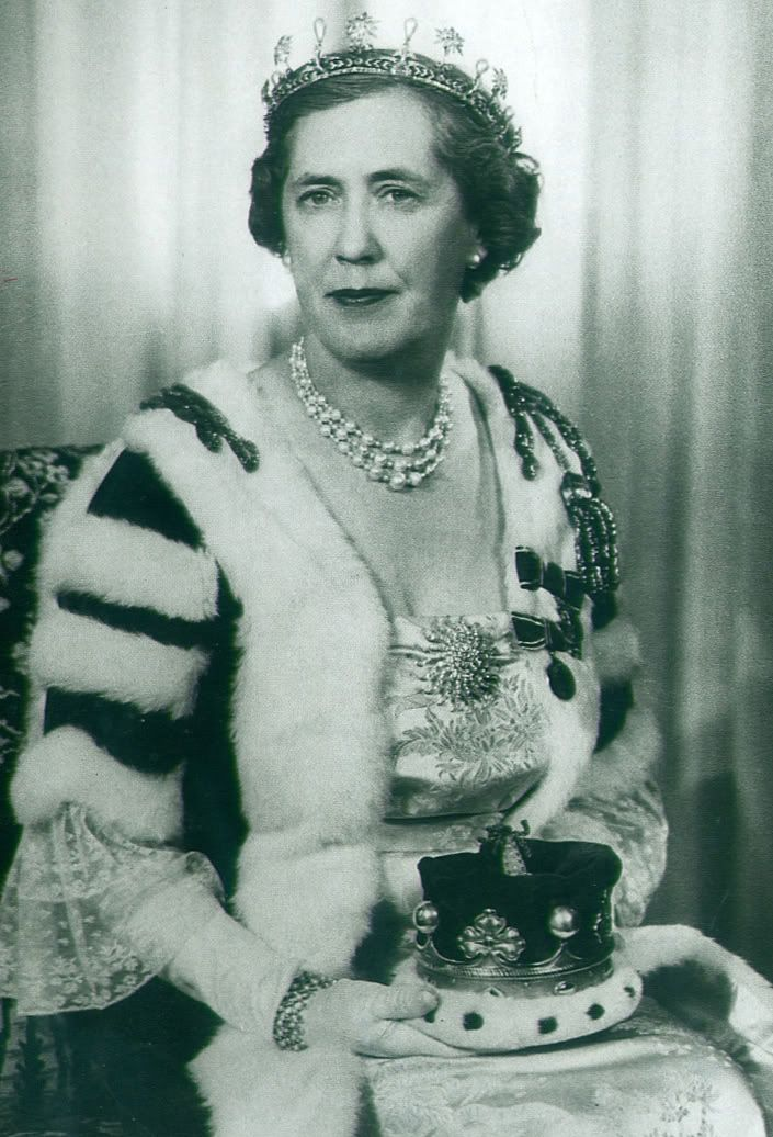 Dorothy Cambridge, Marchioness of Cambridge, wearing the Cambridge Tiara, United Kingdom (pearls, diamonds). Photo taken at the time of Queen Elizabeth II's 1953 coronation.