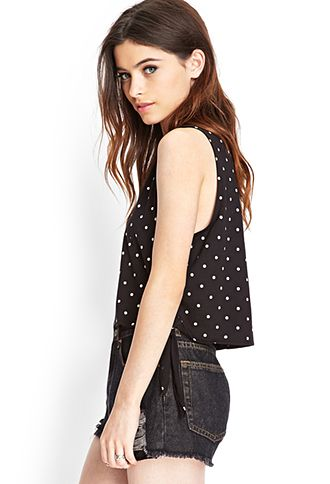 Side-Tie Dotted Top | FOREVER21 - 2000122754