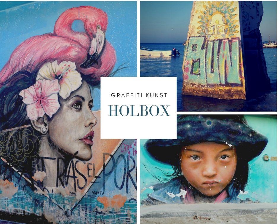 Graffiti Kunst in Holbox, Mexiko (Yucatan Peninsula). Aufregend bunt und schön ist diese Insel im karibischen Meer. Lies den ganzen Reisebericht.