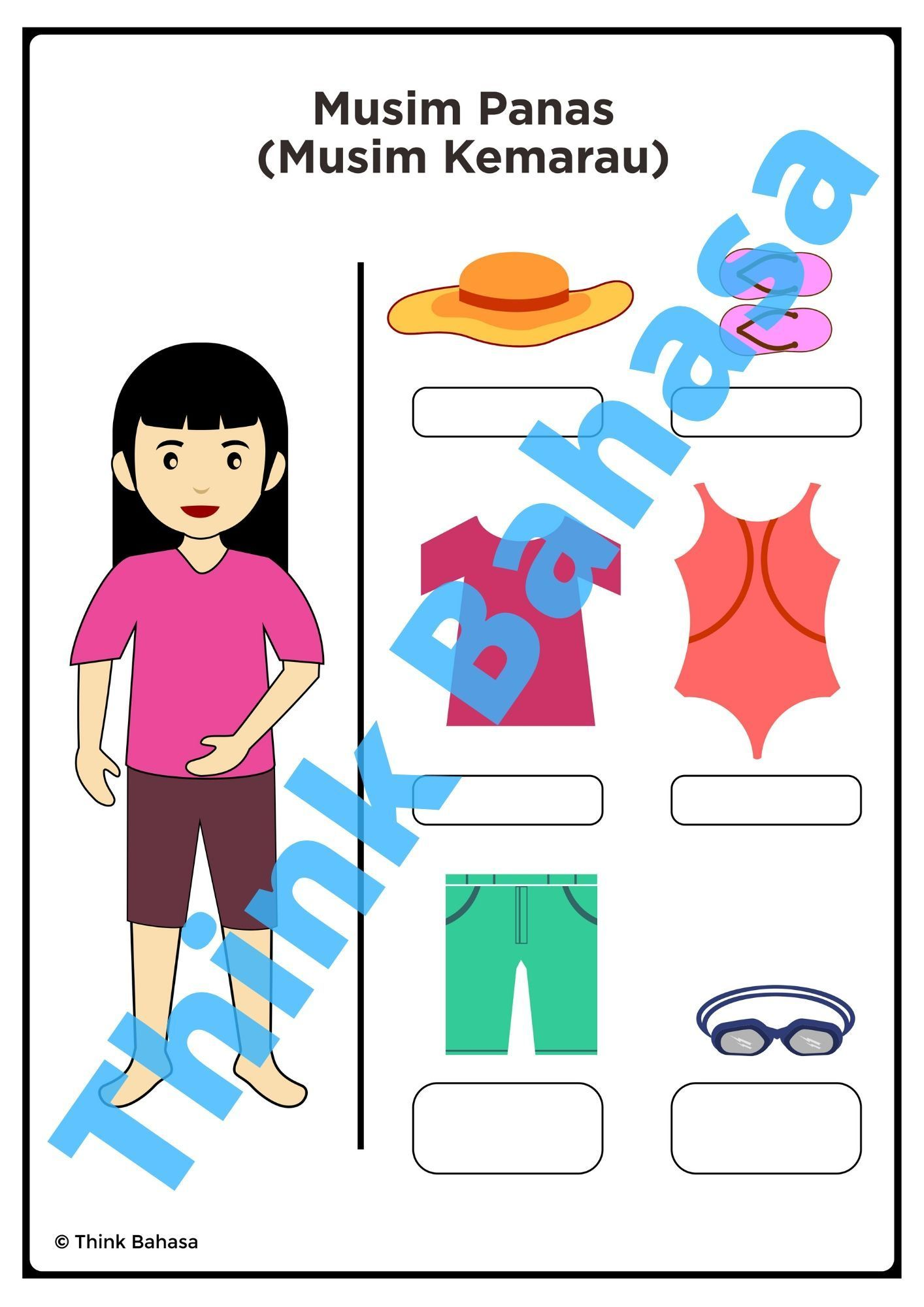 Indonesian Summer Clothes Vocabulary Worksheets