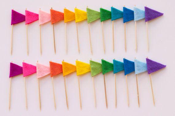 Felt Cupcake Flags (rainbow)