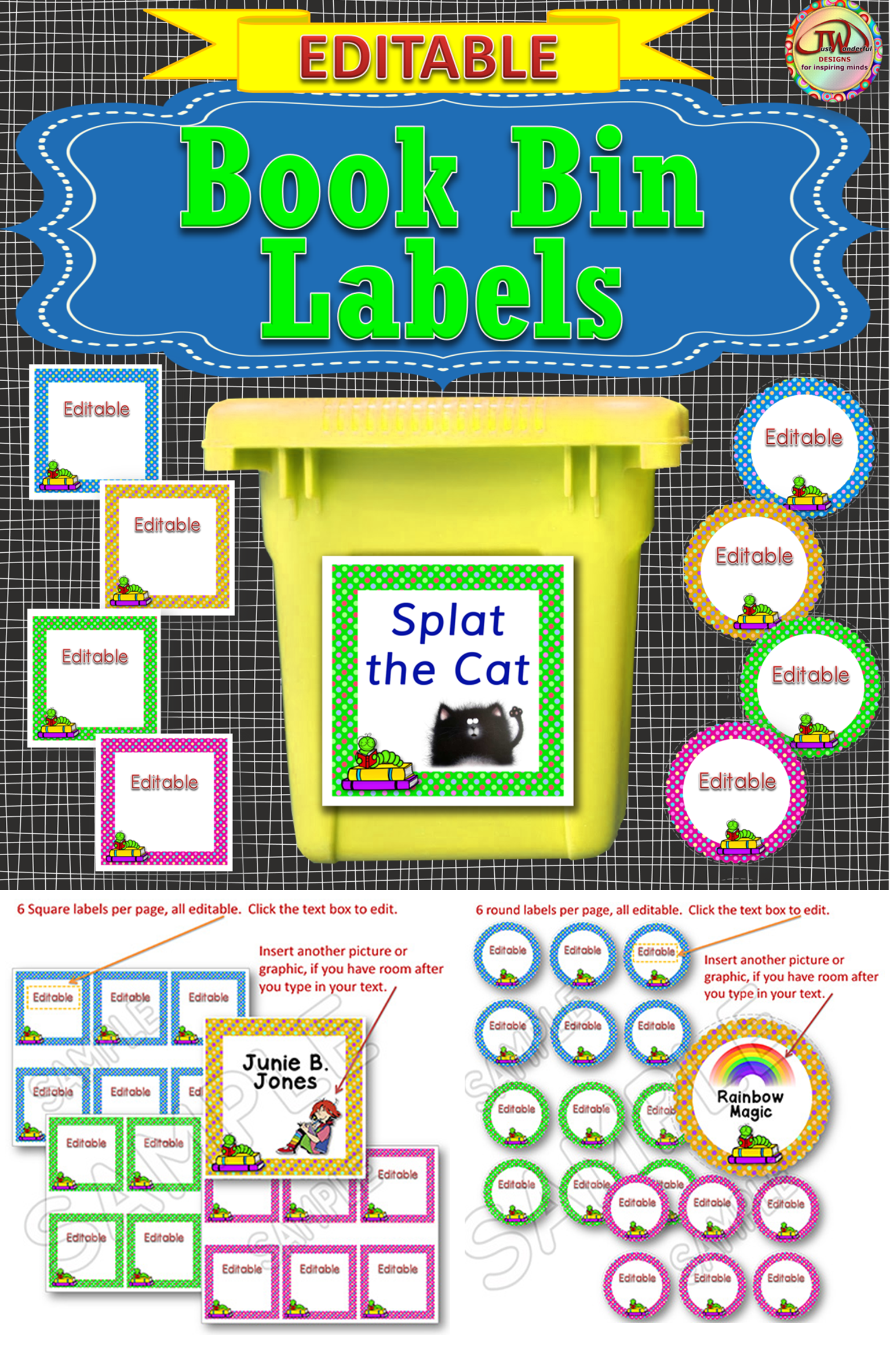 editable labels - book bin labels for the classroom library polka