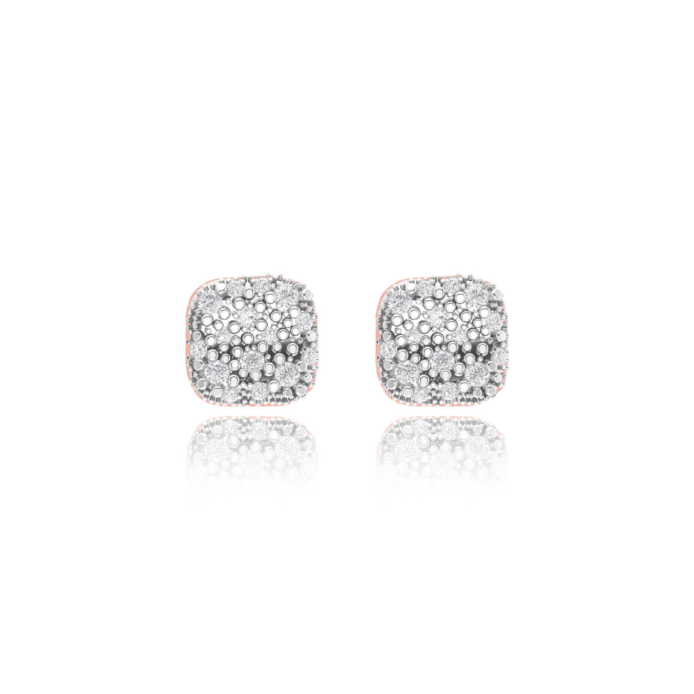 Penelope rose gold pave cushion earrings