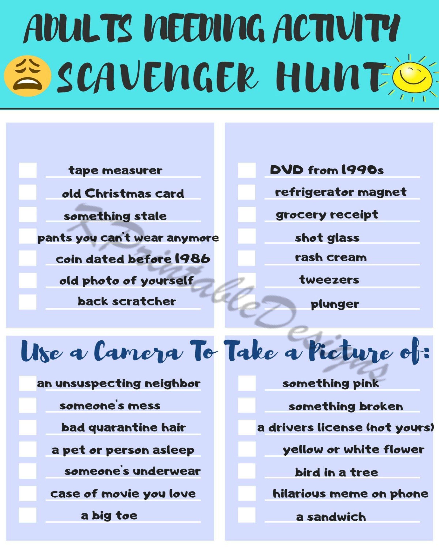 Adults Needing Activity Scavenger Hunt Pdfadult Etsy Scavenger Hunt Scavenger Hunt Games Scavenger