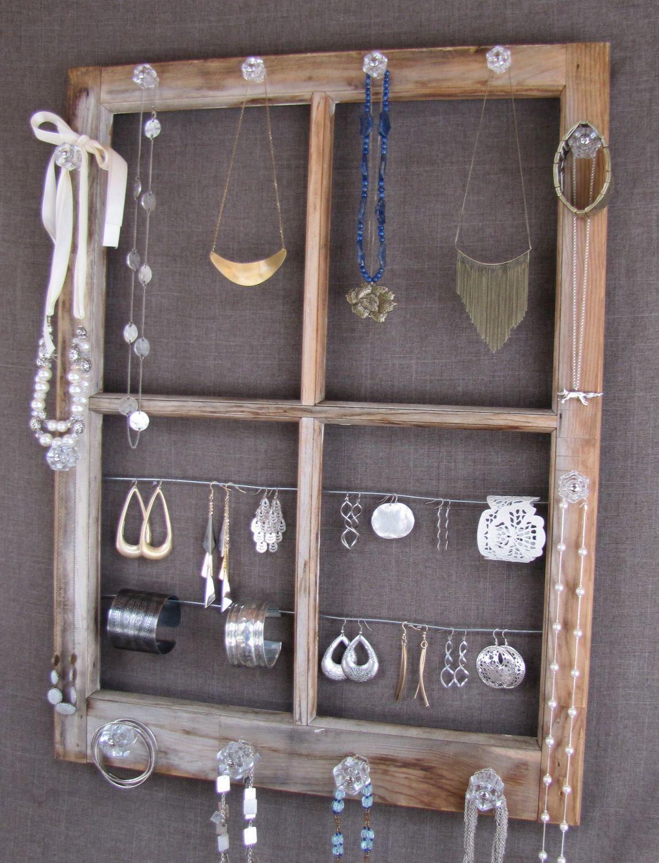 Window display ideas for jewellery  repurposed window pane jewelry display  jewellery display