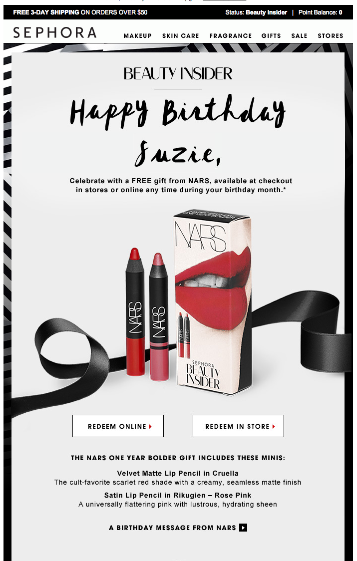 Sephora Happy Birthday Eblast Subject Line Unwrap Your NARS Gift