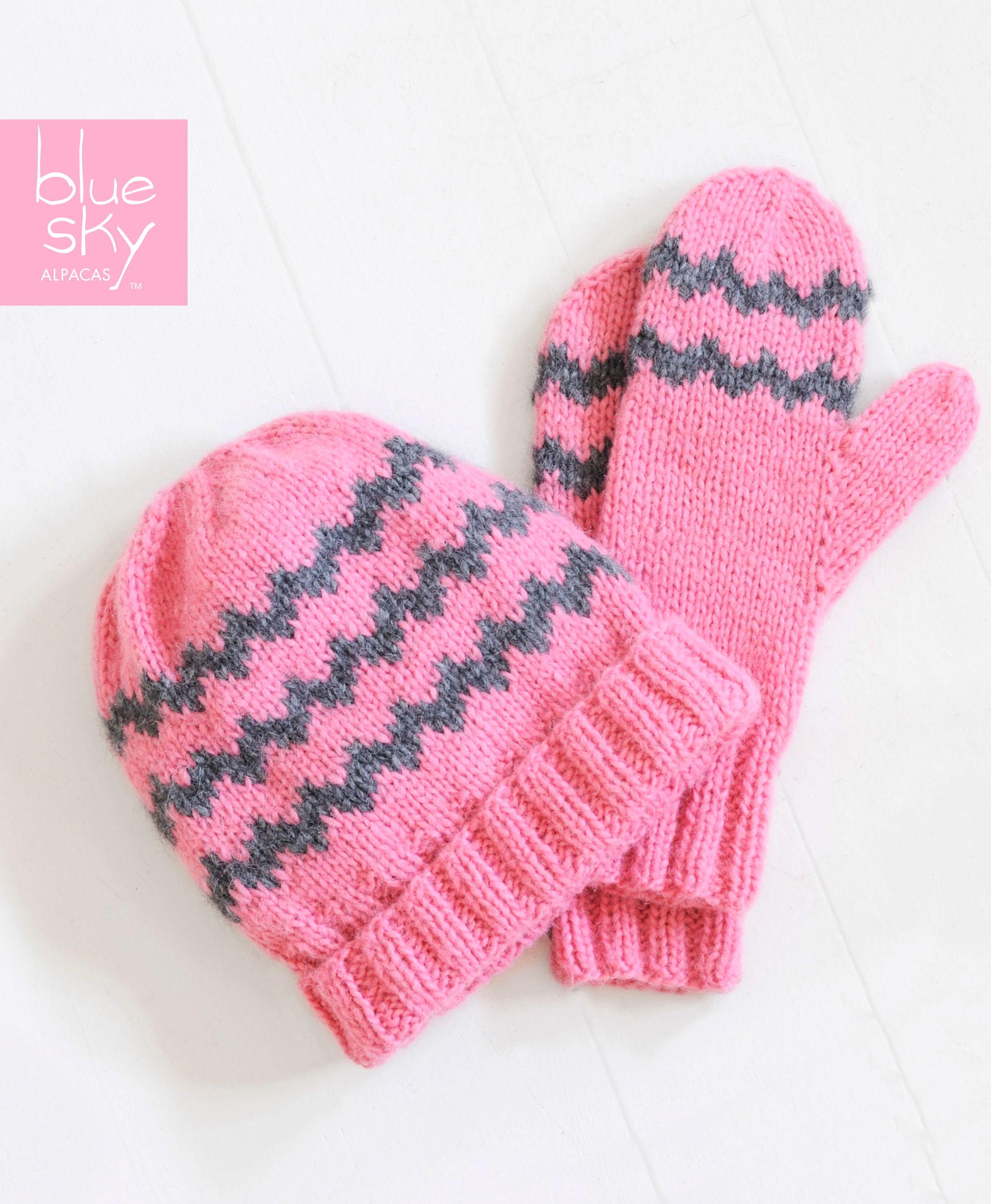 Blue Sky Alpacas Zig Zag Mittens & Hat - free pattern knit in Blue ...
