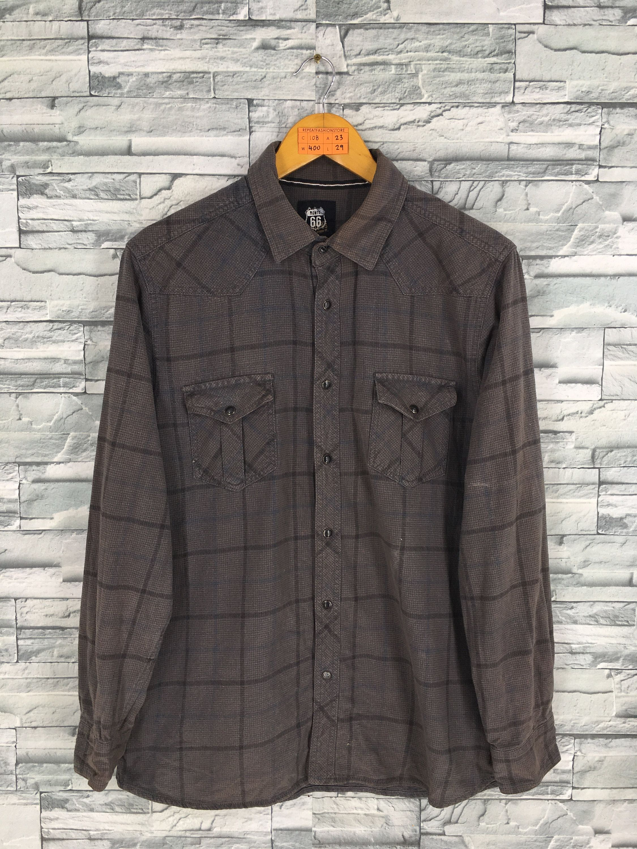 Vintage Plaid Checkered Flannel Casual Shirt Large 90/'s Oxfords Streetwear Dark Gray Shirt Buttondown Mens Shirt Size L
