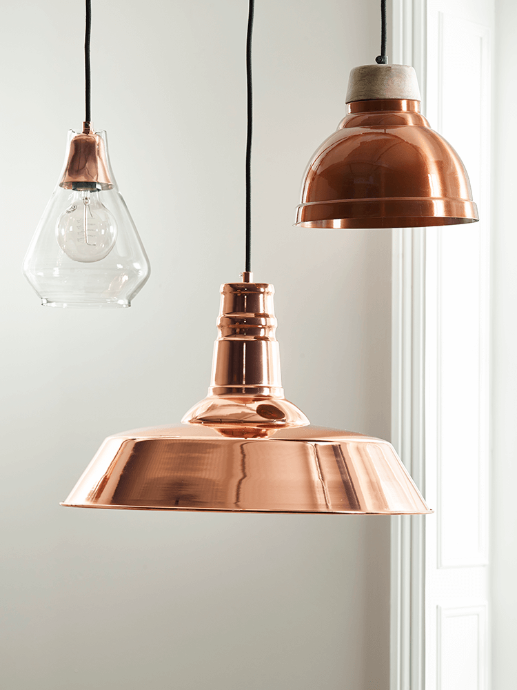 With a stunning glass shade this unique pendant has a contrasting with a stunning glass shade this unique pendant has a contrasting copper fitting that shines aloadofball Images