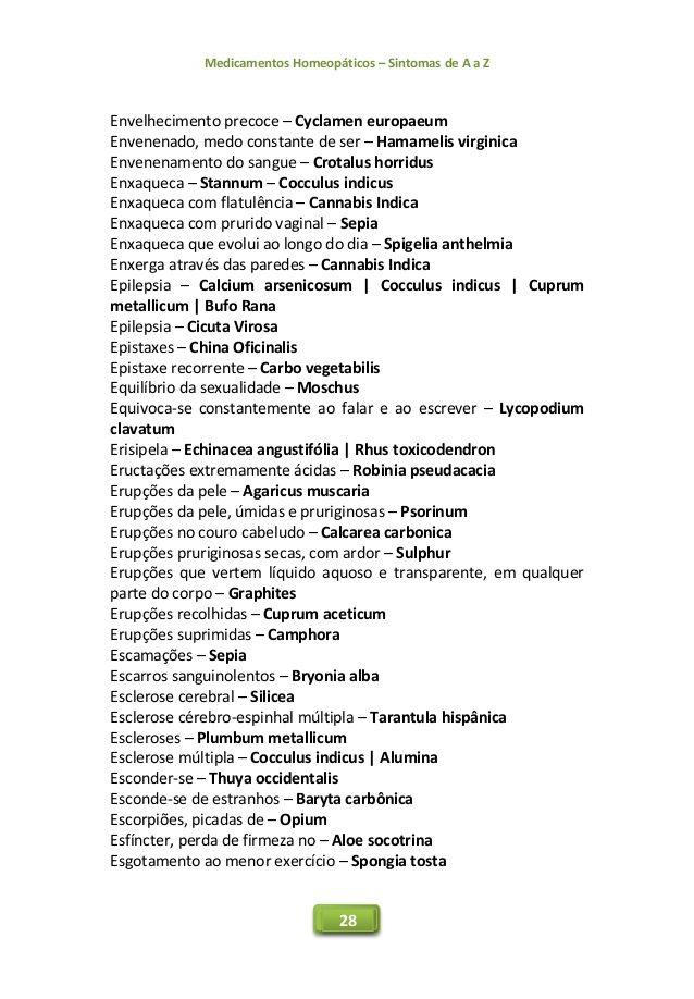 Medicamentos Homeopáticos – Sintomas de A a Z 28 Envelhecimento precoce – Cyclamen europaeum Envenenado, medo constante de...