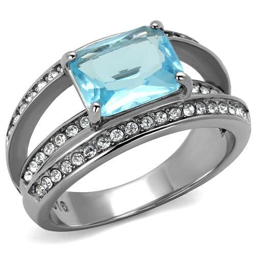 Stainless Steel Blue Crystal Ring – Just Fab Not Drab