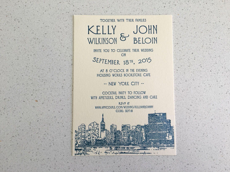 Letterpress Wedding Invitations - Cityscape by SeasidePress on Etsy ...