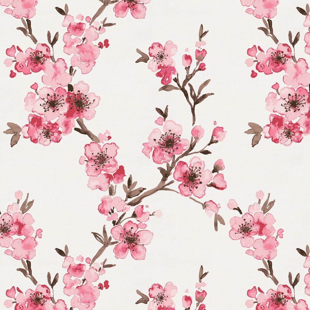 Cherry Red Peach Watercolor Floral Fabric