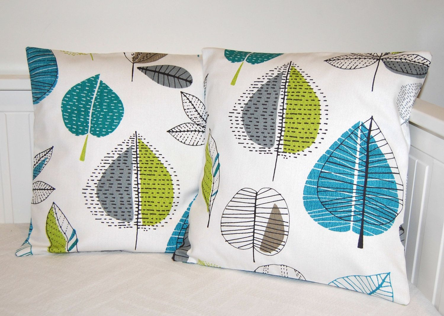 pair of blue green grey leaves cushion covers, 17 inch pillow ...